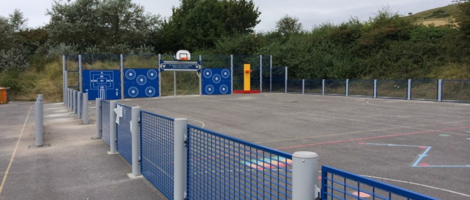 """Groundplay Limited successfully extended this MUGA in Weymouth. *Please note that some of the photographs may show the project still """"Under Construction"""". Such pictures are intended to showhow our installation process works and do not necessarily reflect nor illustrate the quality of the completed project."""